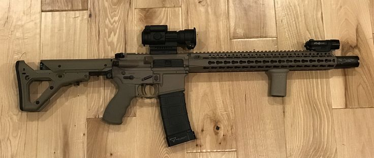 "Magpul FDE, spikes tactical upper and lower. Bravo company BCG, 14.5"" barrel, gas block, ambi charging handle, and Keymod 15"" rail. Noveske KX5, Aimpoint PRO, ergo grip, and Magpul UBR stock."