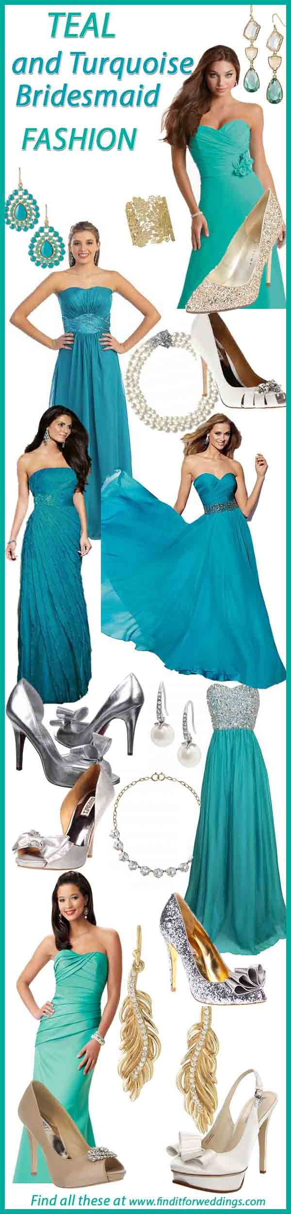 Color accessories teal dress