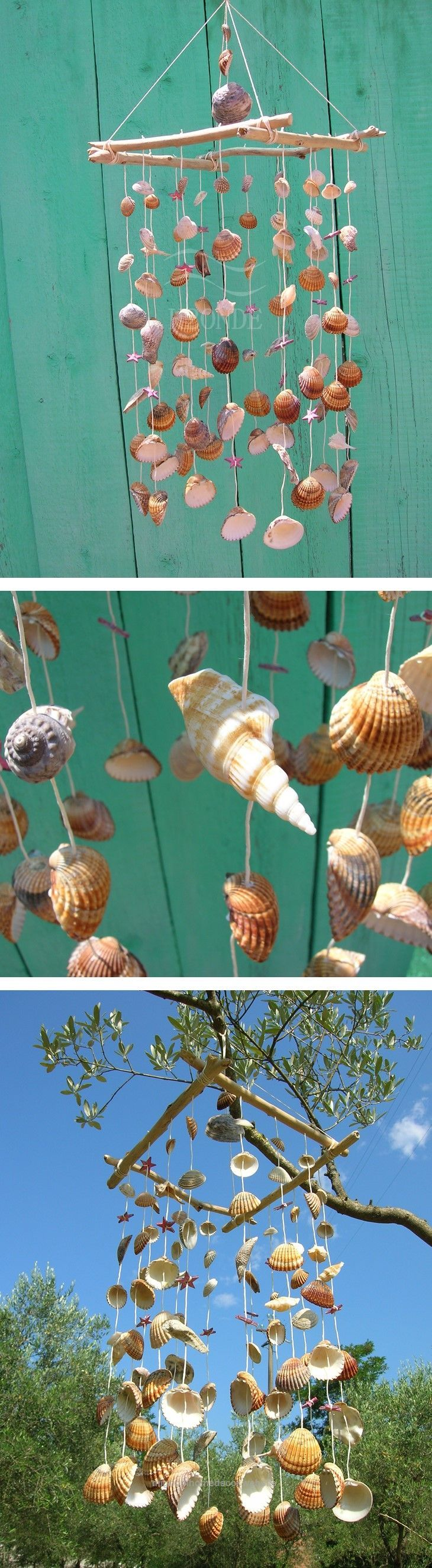 Perfect Wind chime,dream catcher,driftwood beach ocean decor,seashell,wedding beach theme, wood beach decor,door,marine,coastal,shabby chic, red star, windchime,home decor natural ocean art. Acc ..