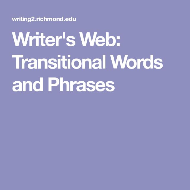 Writer's Web: Transitional Words and Phrases
