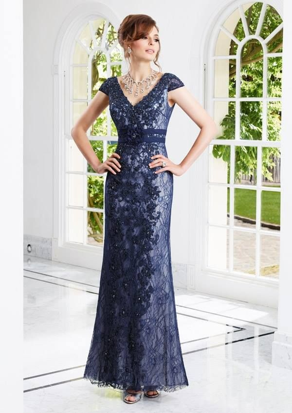 Style EZYOE Lace  Dress and Stole  Colors Available: Navy/Ivory. Sizes Available: 2-26* *Please refer to the VM size chart.