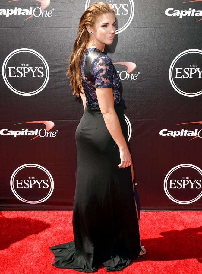 Us Soccer Player Alex Morgan Poses For Photographers