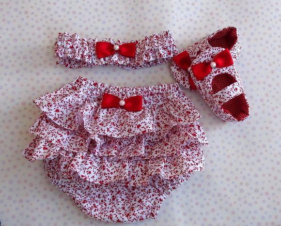 Kit em tecido 100% algodão com estampa floral.
