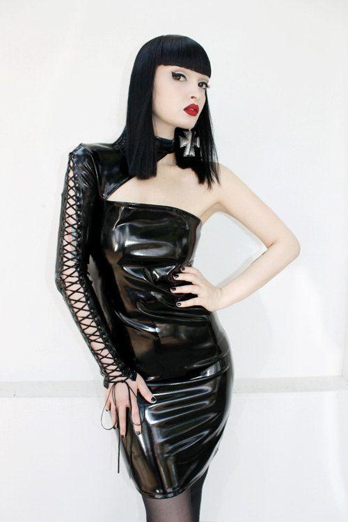 ADELE PSYCH 'Black Mirror' Glam Goth Rock Fetish Heavy Metal style Black Shiny PVC Mini Dress with Lace-Up Sleeve on Etsy, $311.69