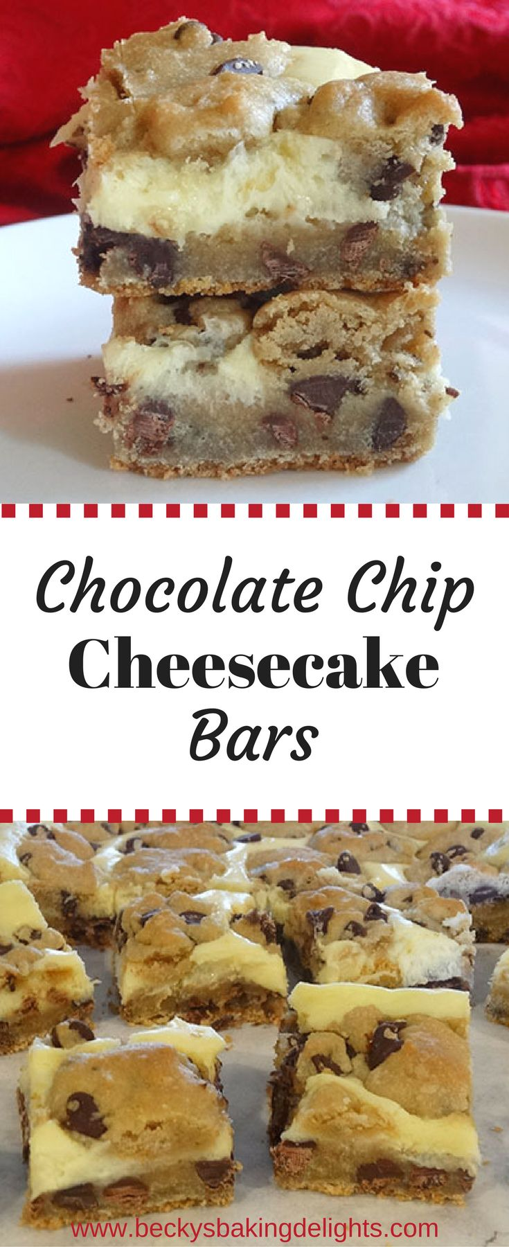 These chocolate chip cheesecake bars combine a traditional chocolate chip cookie recipe with a cream cheese filling.