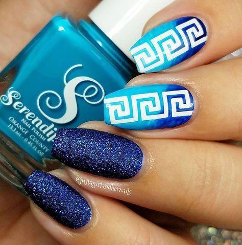 Beautiful Blue Gradient Glitter Manicure By Justagirlandhernails