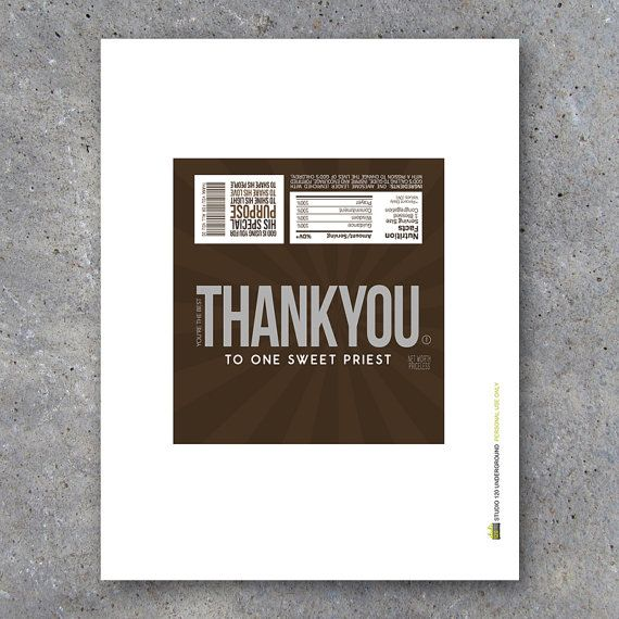 THANK YOU Pastor Appreciation Candy Bar Wrappers Printable