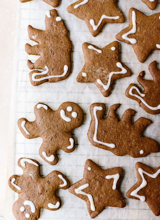 Healthy gingerbread cookies, made with whole wheat pastry flour and coconut oil! They are super easy to make. cookieandkate.com