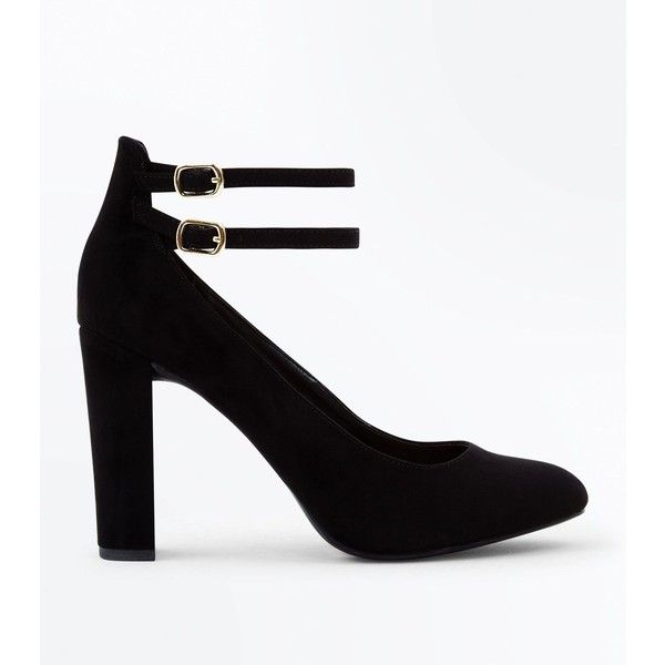 397daa8afeec Wide Fit Black Suedette Double Ankle Strap Courts ( 23) ❤ liked on Polyvore  featuring shoes