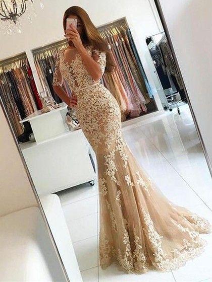 Scoop Neck Tulle Appliques Lace Sweep Train Trumpet/Mermaid 1/2 Sleeve Backless Elegant Prom Dresses - pickedresses.com