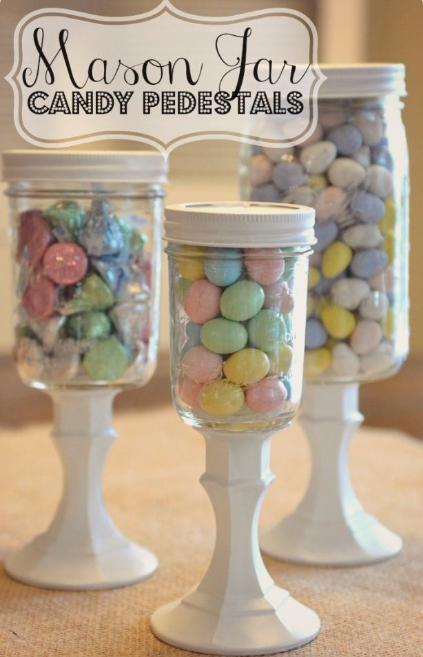 Mason jar candy holders for a party! Just spray paint the pedestal and top in your party colors! @Sabrina Majeed Krieg