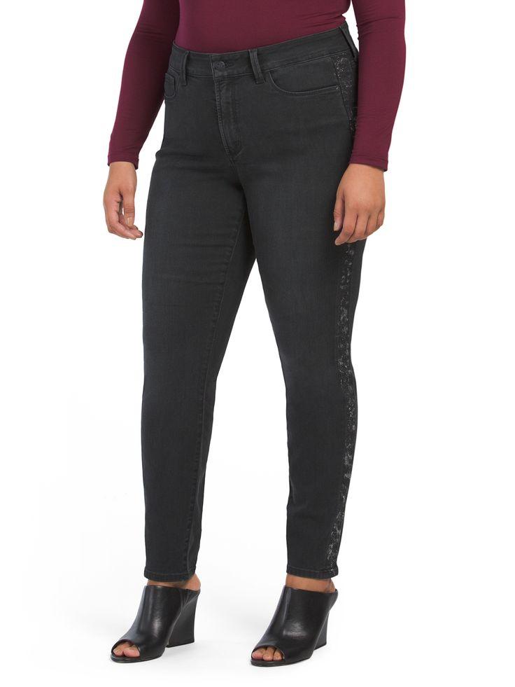 Plus Alina Glitter Coated Tuxedo Stripe Pants