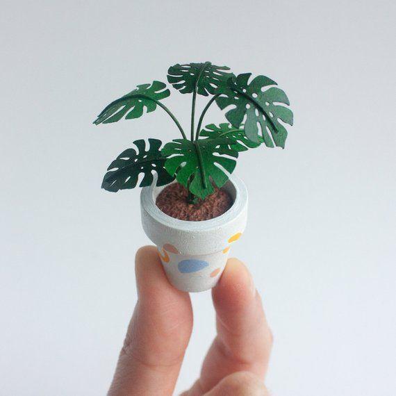 1//12 Dollhouse Miniature Pot Green Leafed Plant Garden DecorationIJUSYJ