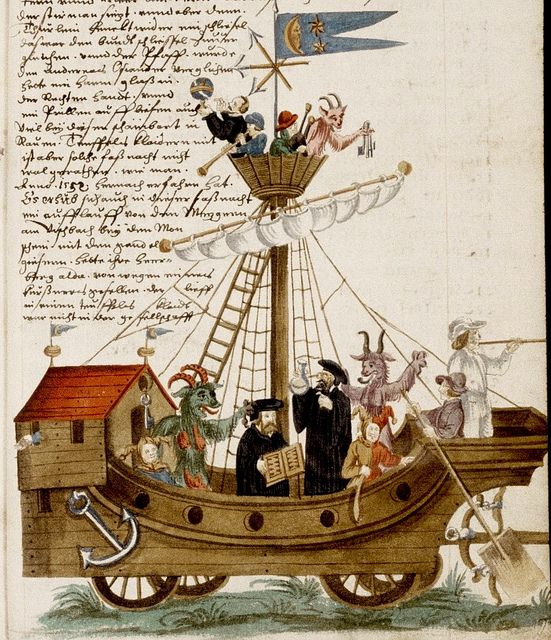 "Nuremberg Shrovetide Carnival. German c, 1590-1640(?)---jesters-devils-musicians-clergy etc. ""Ship of Fools""? 
