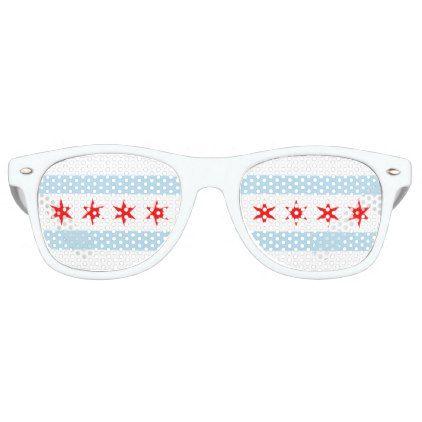 Flag of Chicago Illinois Retro Sunglasses - stripes gifts cyo unique style
