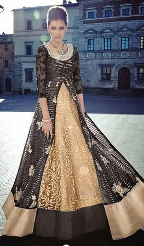 Designer Suit in Black and Beige Color Shaded Embroidered Georgette