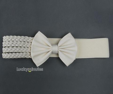 1 Pcs Women Bow Buckle Weave Elastic Belt Waistband | eBay