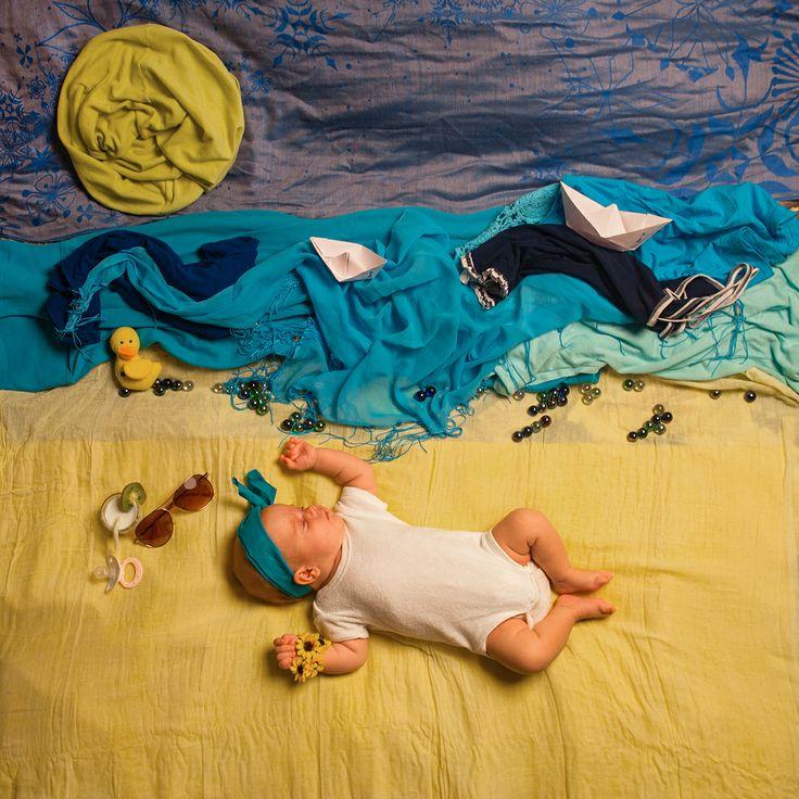 ребенок, дочка, картины из вещей, декорации, детская фотосессия, стилизация, младенец, море, сон, кораблик, солнце, отпуск