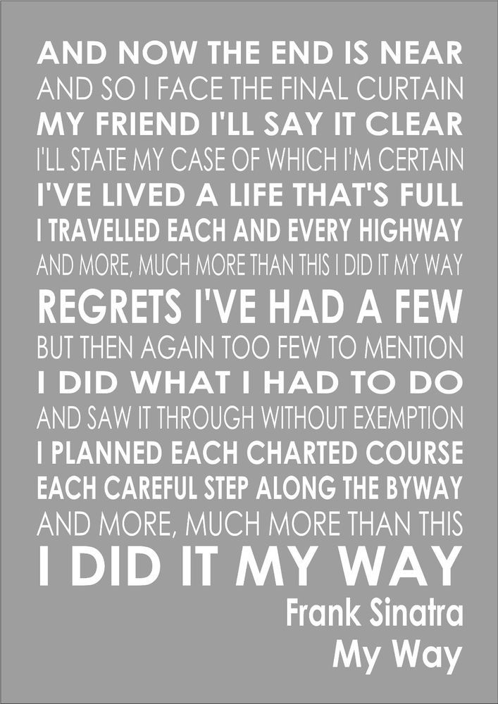 Frank Sinatra - My Way - Word Typography Words Song Lyric Lyrics Print Canvas