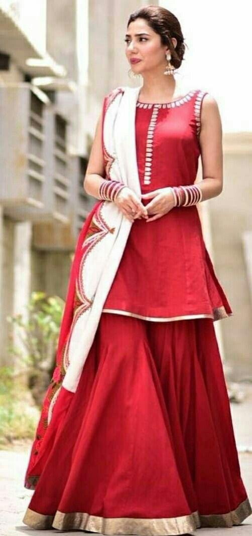 5e39a3e242fe6 Mahira Khan in a red gharara