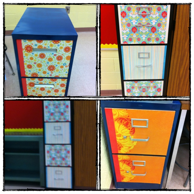 Modge podge file cabinets in my classroom