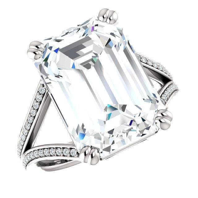 8 Carat Emerald Moissanite & Diamond Split Shank Engagement Ring, Emerald Harro Moissanite Engagement Rings for Women, Custom Rings for Her, Raven Fine Jewelers, Harro Gem Moissanite, 14x9mm Emerald Moissanite Rings