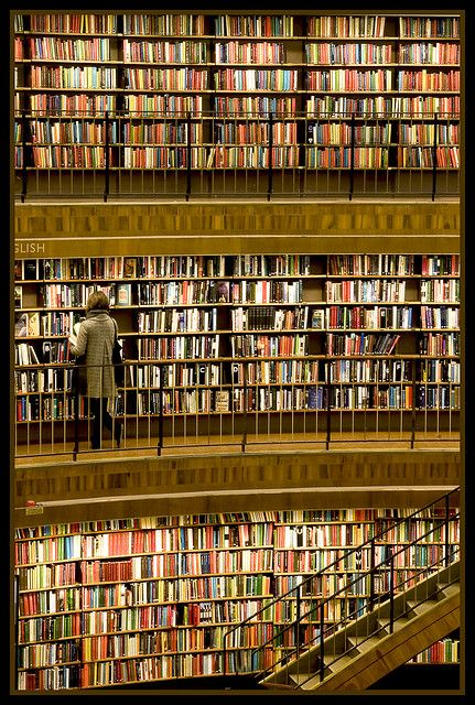 Stockholm Library, Sweden. Cool!!  How many books are in this library? How could you count them?