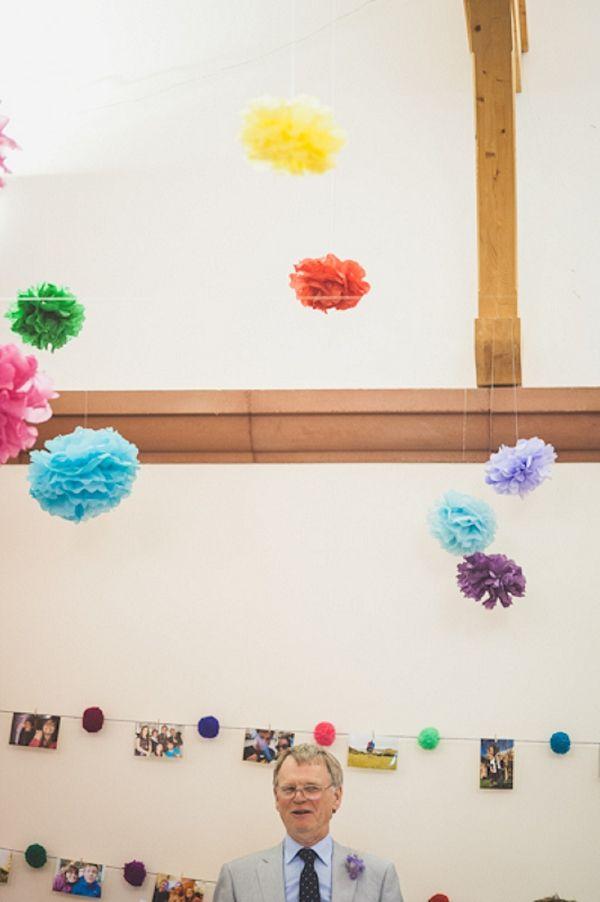 colourful pom pom decorations