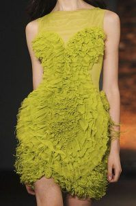 Chartreuse dress couture