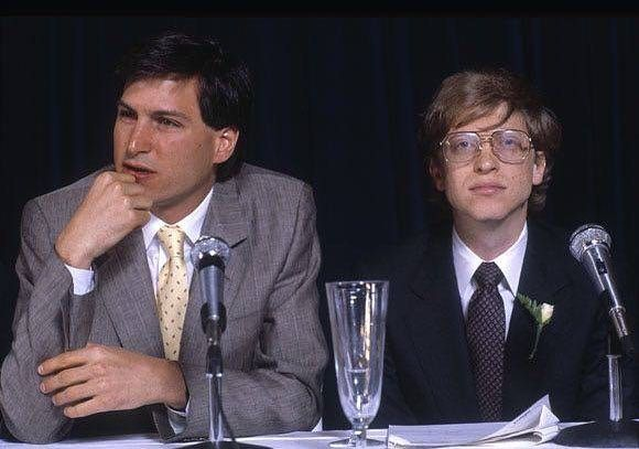 A young Bill Gates with Steve Jobs, 1985.