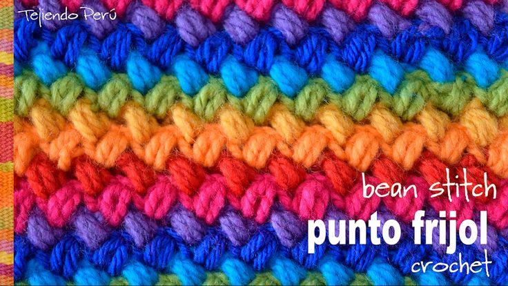 Punto frijol tejido a crochet: bello y reversible! (bean stitch)