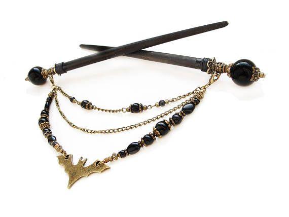 Set of 2 gothic japanese wooden hair sticks black glass