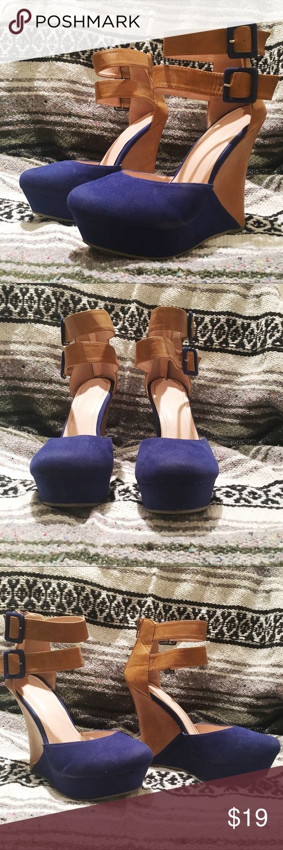 """Blue/Camel Party Platform Heels Wow factor shoes! Royal blue & camel brown heels are a cute pop of color with a party dress, skinny jeans, or jeggings. 5.25"""" heel and 1.25"""" platform, so it's like wearing a 4"""" heel. The buckles at the ankles are truly adjustable, so you can make them looser or tighter according to your comfort.  A few small blemishes on the blue suede and some wear on the back heelcap--only observed under bright lights. For these reasons, I am rating the shoes """"Good""""…"""