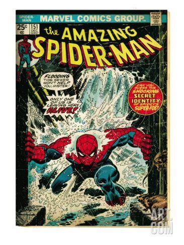Marvel Comics Retro: The Amazing Spider-Man Comic Book Cover No.151, Flooding (aged) Art Print at Art.com