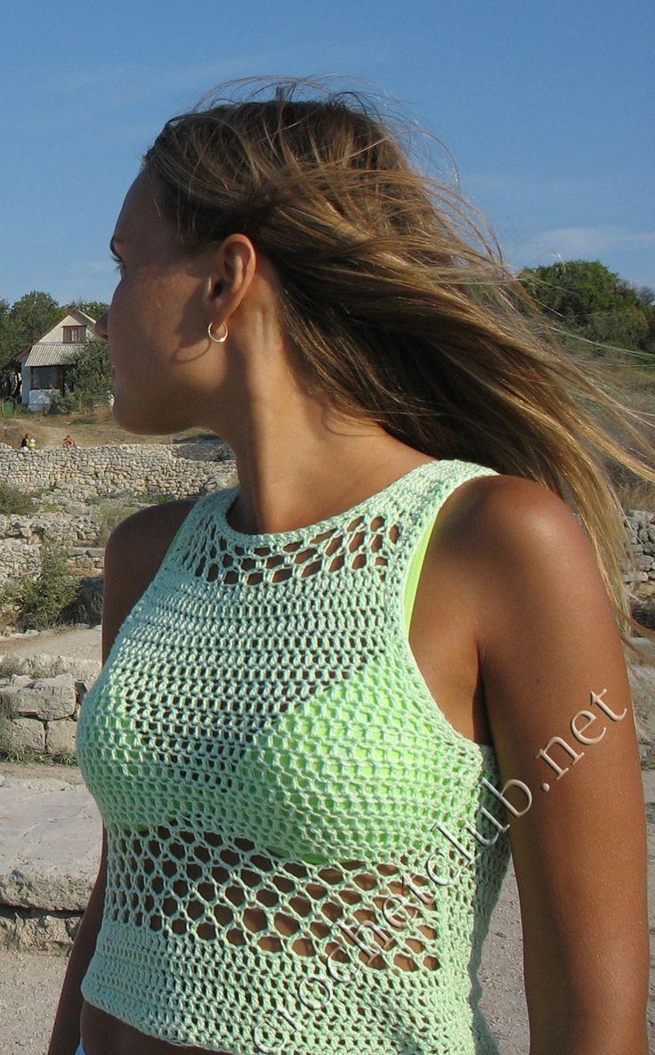 Knit crochet lace tank top летний топ