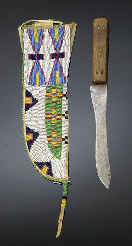 Sioux Beaded Hide Knife Case and Knife, ca1900.
