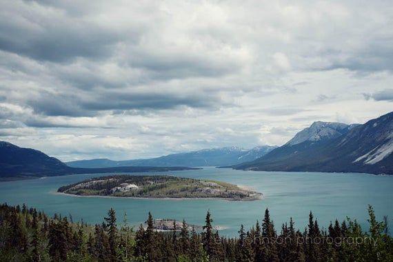 Klondike Highway Yukon Canada Lake And Mountains Art Travel Landscape Photography Blue Home Decor Bove Island Tagish Lake Ak12 Landscape Photography Mountain Art Landscape