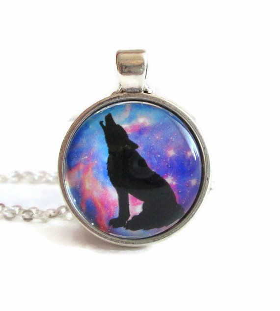 howling wolf galaxy pendant wolf gifts wolf art space galaxy pendant necklace fashion by FloralFantasyDreams on Etsy
