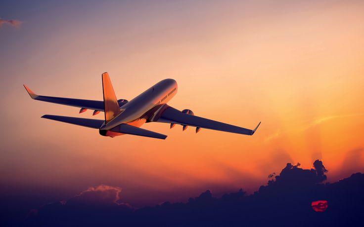 O avião voando ao pôr do sol, fotografia avião Papéis de Parede - 2560x1600