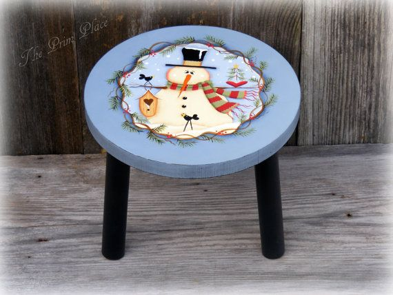 Hand Painted Snowman on Wooden Stool Winter Decor by theprimplace