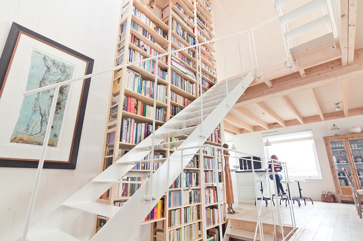 Bookshelves and stairs