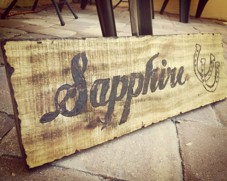 Horse stall sign with wood burning