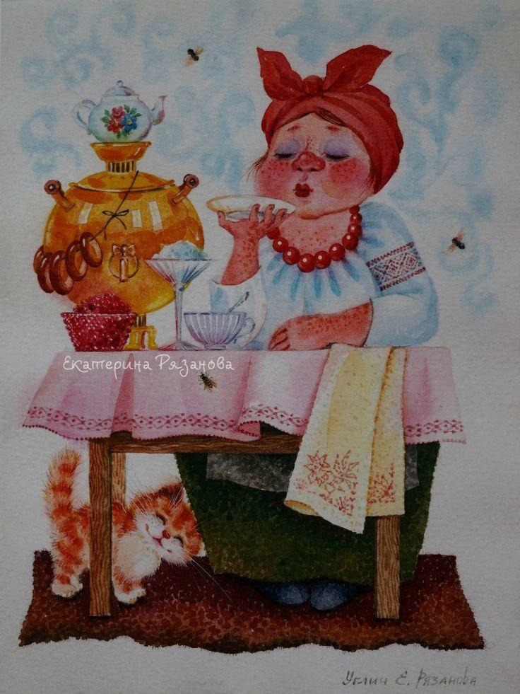 Картинки самовар и бабка