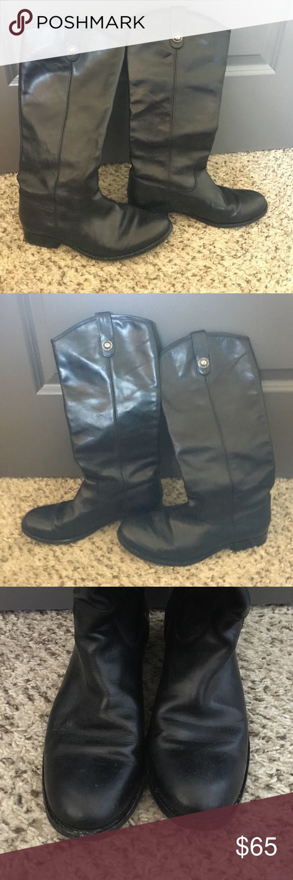 Frye Riding Boots Black Frye Riding Boots in amazing condition! They are naturally a more worn and casual style. Frye Shoes Combat & Moto Boots