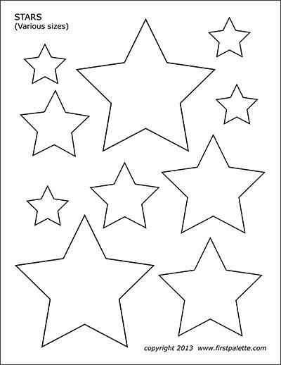 Free printable stars of various sizes to color and use for
