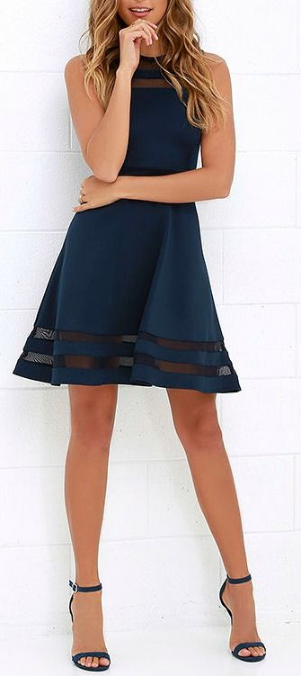 You can make it to every finish line with the Final Stretch Navy Blue Dress to push you through! Thick navy blue fabric stretches easily from waist to swirling skirt, with stripes of sheer blue mesh at neckline and hem for that last burst of inspiration! #lovelulus