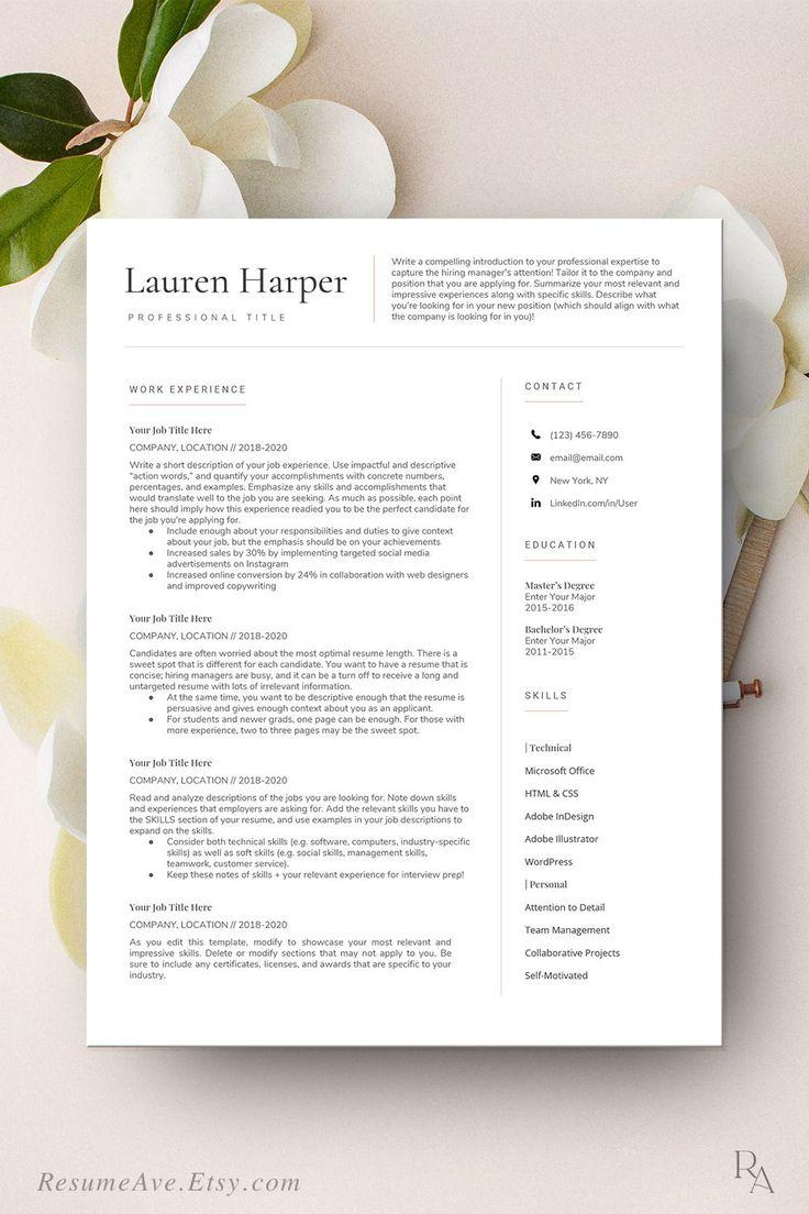 Simple google docs resume professional teacher resume | Etsy