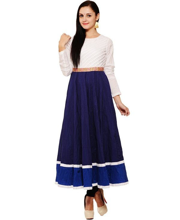 aana white blue solid anarkali kurti