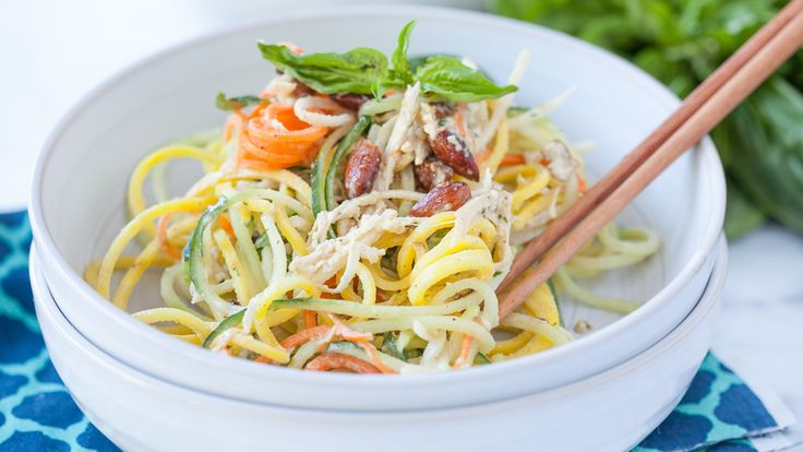 Try the vegetable spiralizer trend with this gluten-free Thai salad