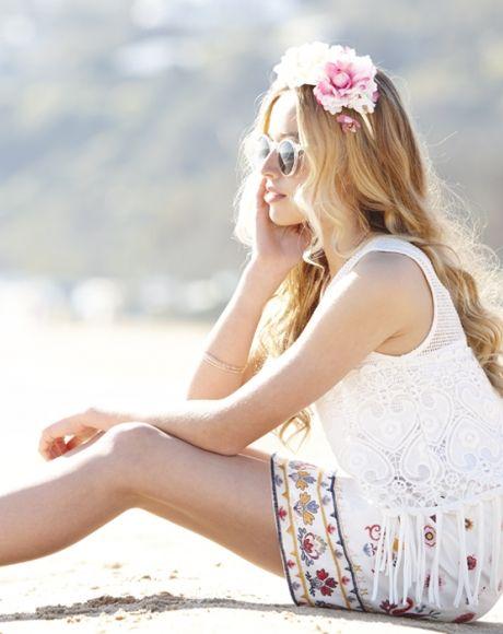 Rosalie Knit Top + Bambi Skirt + Boho Espadrilles + Gold Bangle set | Pavement United Brands #tassle #fringe #embroidery #denimskirt #floralheadband #spring #sunglasses #summer #spring #festival #teen #girls #fashion #gumclothing